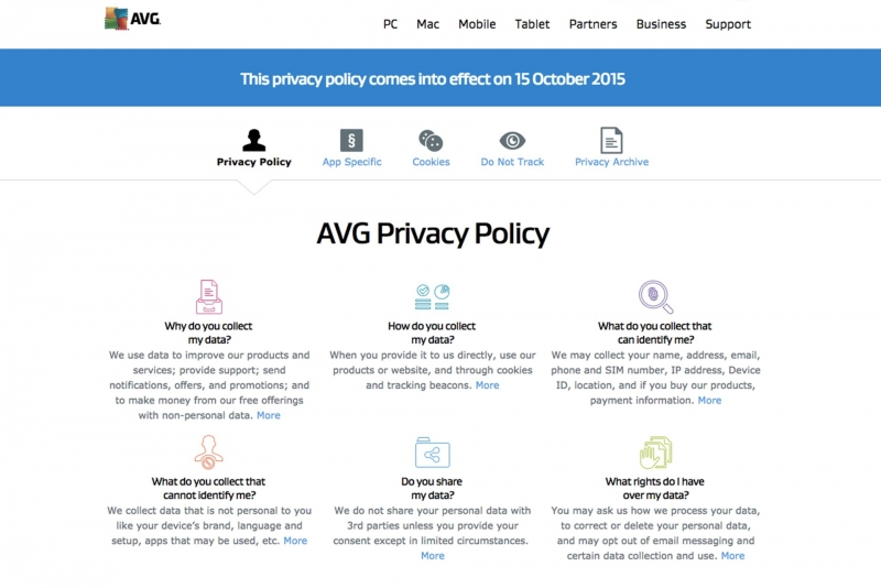 AVG privacy